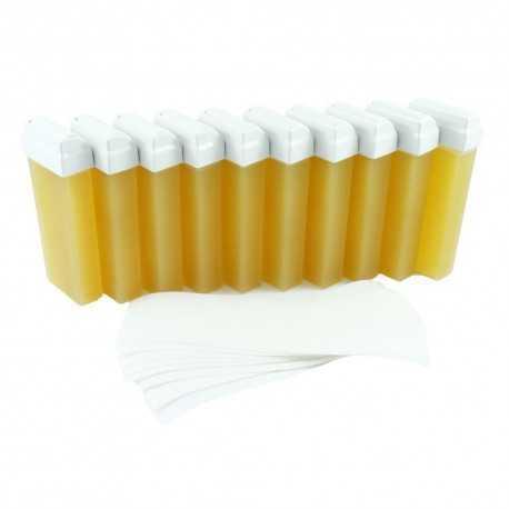 Zestaw do depilacji wosk miodowyx10+paskix100