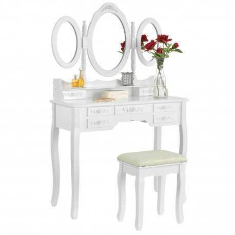 Toaletka biała ELSA 3 lustra 7 szuflad + taboret