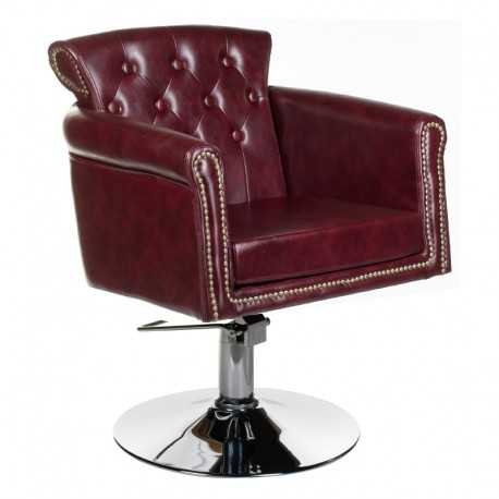 Fotel fryzjerski ALBERTO wiśniowy