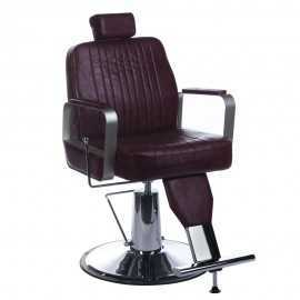 Fotel barberski HOMER Wiśniowy LUX