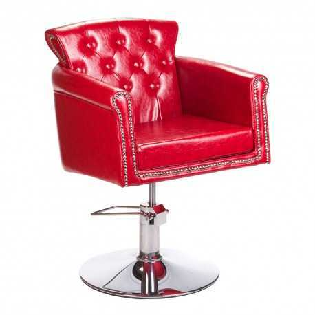 Fotel fryzjerski ALBERTO czerwony